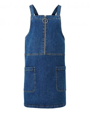 Zip Front Denim Pinafore Dress