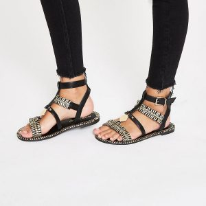 Wide Fit Black Gold Gladiators