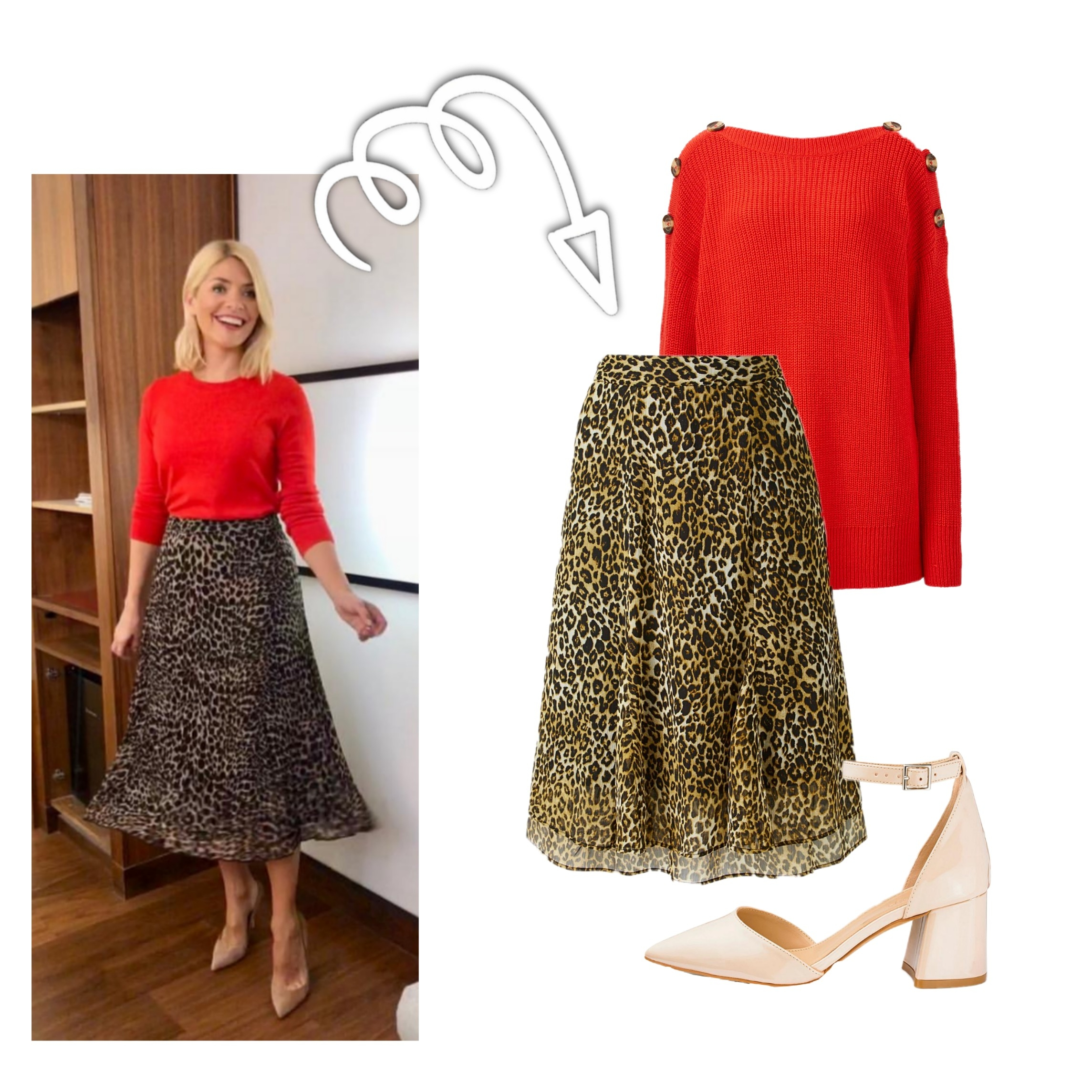 Red Jumper Leopard Skirt