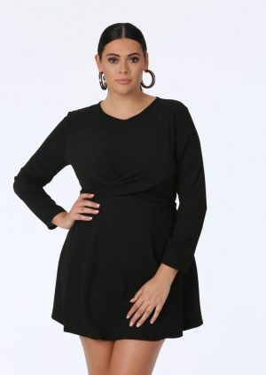 Black Twist Skater Dress
