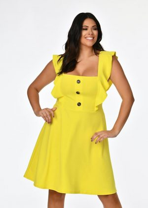 Yellow Ruffle Skater Dress