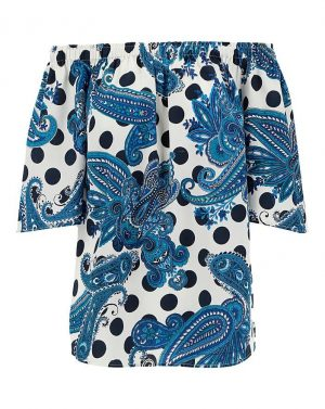 Blue Mix Print Spot Bardot
