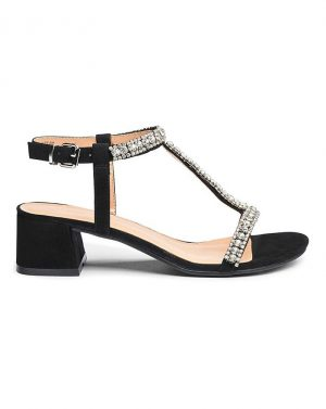 Kara Diamante Low Block Heel Sandal