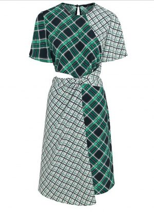 Green Check Cut Out Waist Dress