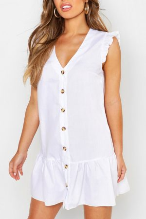 Petite Button Smock Dress
