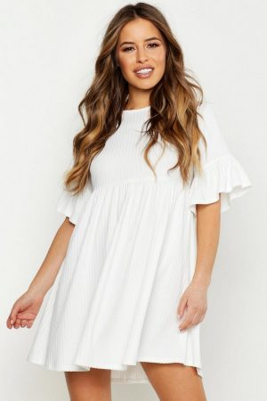 Petite Ribbed Frill Sleeve Smock Dress