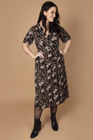 Printed Kimono Style Wrap Dress in Black