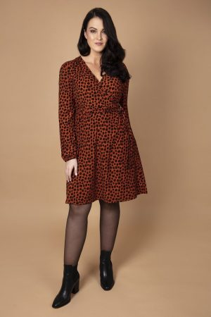 Soft Wrap Rust Print Dress