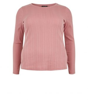 Pink Rib Long Sleeve Top