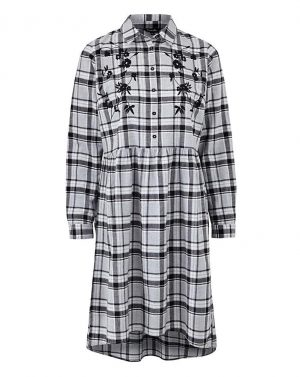 Embroidered Check Shirt Dress
