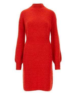 Cosy Red Balloon Sleeve Jumper Dress