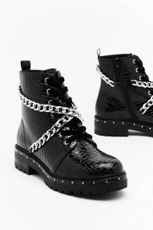 Chain Croc Leather Boots