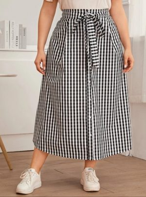 Plus Button Front Gingham Belted Skirt