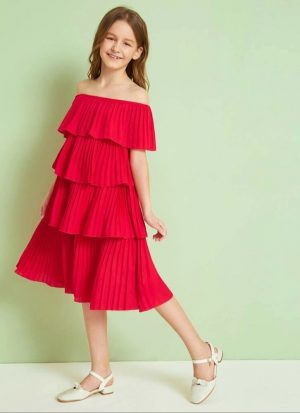 Girls Off The Shoulder Pleated Dress