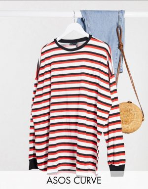 ASOS Curve Long Sleeve Stripe Tee With Cuff
