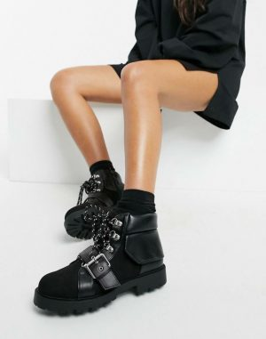 Lace Buckle Hiker Boots