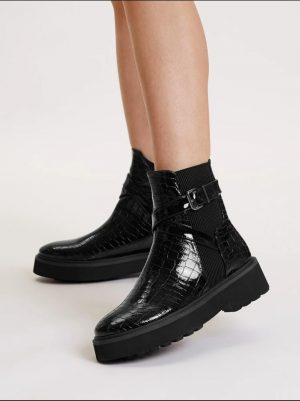 Chunky Mock Croc Chelsea Boot With Strap