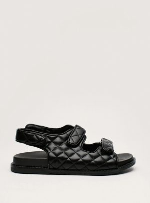 Faux Leather Quilted Slingback Sandals