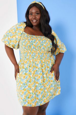 Stacey Soloman Floral Puff Sleeve Dress